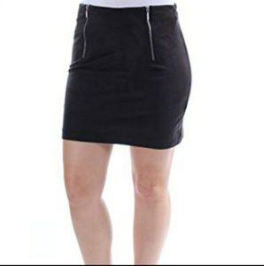 Kensie Black Double Zipper Mini Skirt Size XL NWT